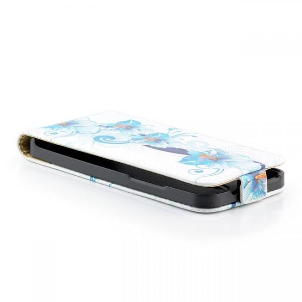 Blumen Flip Case mit Magnetverschluss für HTC One M4 Mini Blau