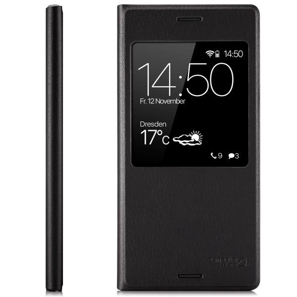 Kunstleder View Case für Sony Xperia XZ1 - Schwarz