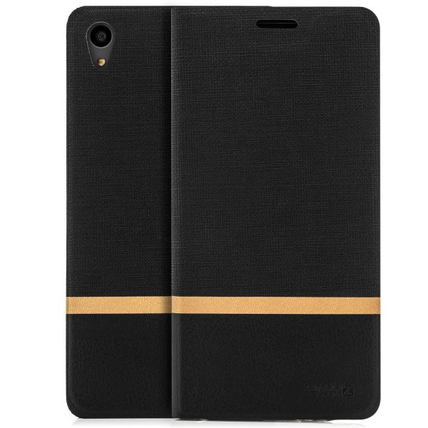Kunstleder Streifen Tasche für Sony Xperia Z5 - Schwarz