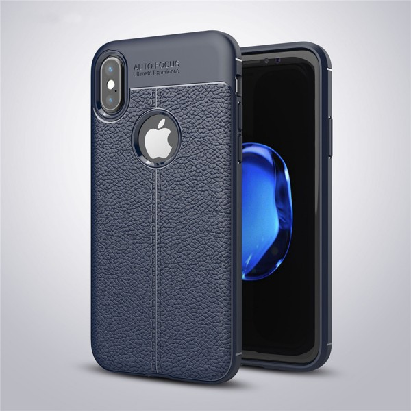 Litchi Soft Back Cover für Apple iPhone X - Blau