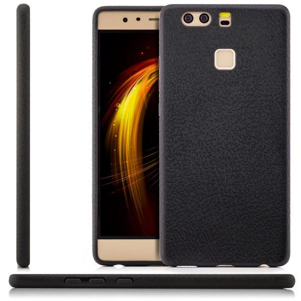 Silikon Leder Case für Huawei P9 - Schwarz