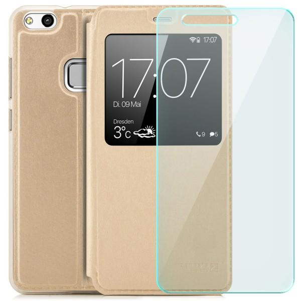 Kunstleder View Case für Huawei P10 Lite - Gold + GLAS