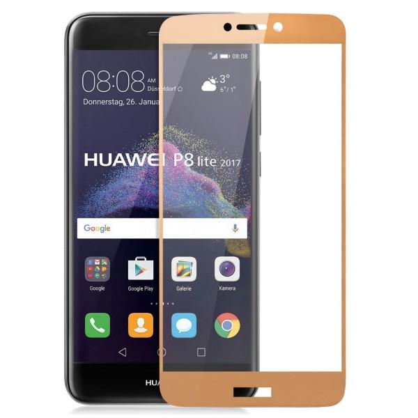 Full Cover Displayschutzglas für Huawei P8 Lite (2017) - Gold