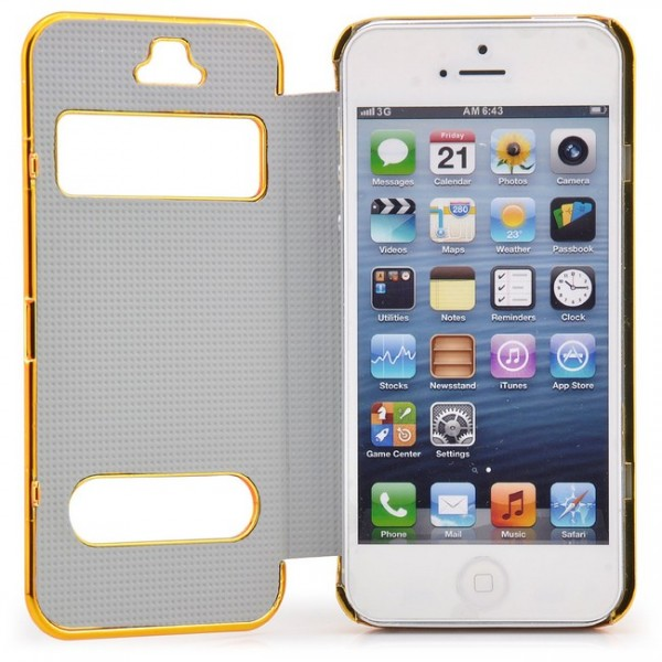 Cells View Case für Apple iPhone 5 & 5S Weiß-Gold