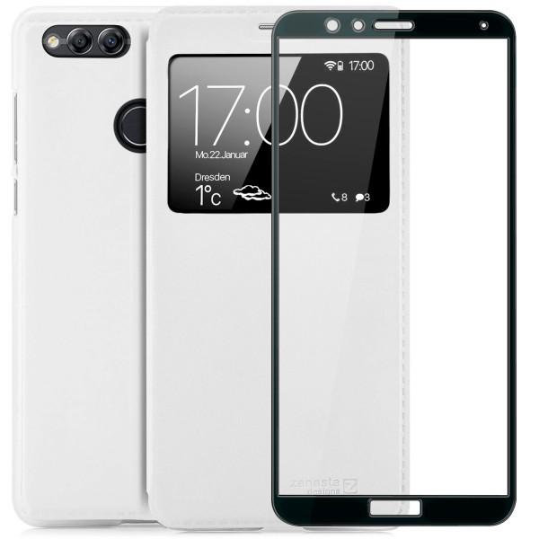Kunstleder View Case für Huawei Honor 7X - Weiß + FC Glas S