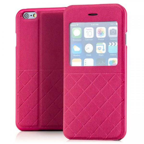 Grid Flip View Case für Apple iPhone 6 & 6S (4,7) Pink -MF-