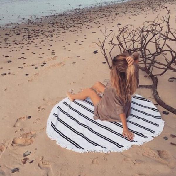 Rundes Strandtuch - Weiß mit schwarzen Streifen