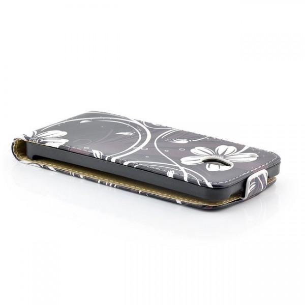 Blumen Flip Case mit Magnetverschluss für HTC One M4 Mini Schwarz
