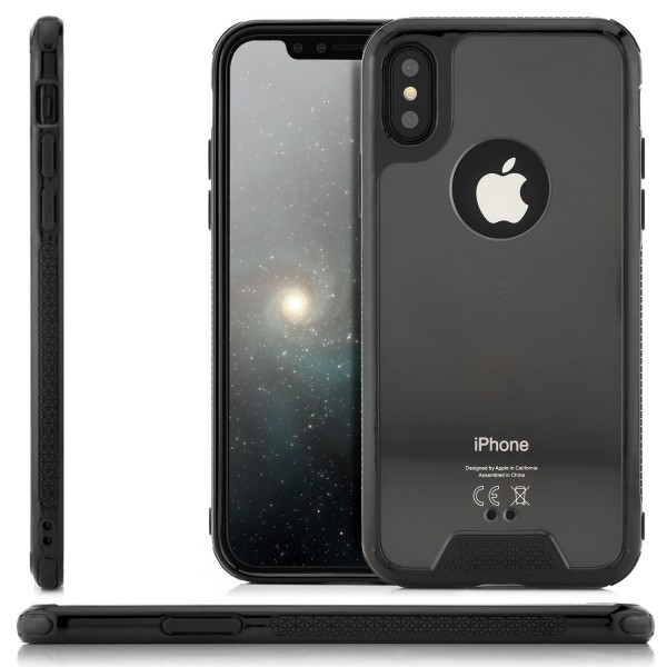 Silikon Plexiglas Back Cover für Apple iPhone X - Schwarz