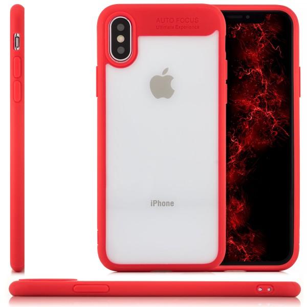 Silikon Back Cover für Apple iPhone X - Transparent-Rot
