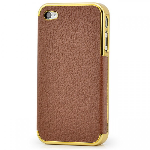 Rough Skin Case für Apple iPhone 4 & 4S Gold-Braun