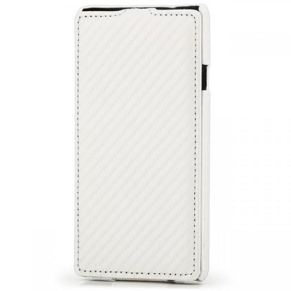Carbon-Look Flip Case für Huawei Ascend G700 Weiß