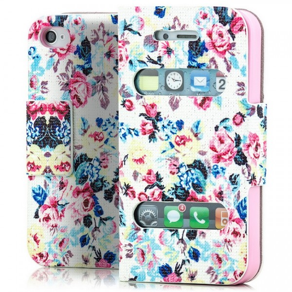 Rosen Book Wallet für Apple iPhone 4 4S Blau-Weiss -MF-