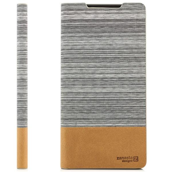 Kunstleder Denim Tasche für Sony Xperia Z5 Premium - Hellgrau