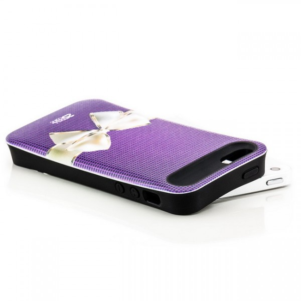 Shell Style Back Cover für Apple iPhone 5 & 5S Schleife Violett