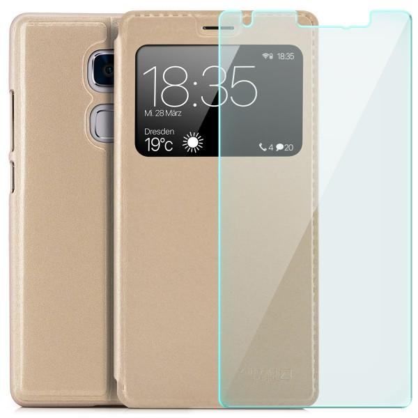 Kunstleder View Case für Huawei Mate S - Gold + Glas
