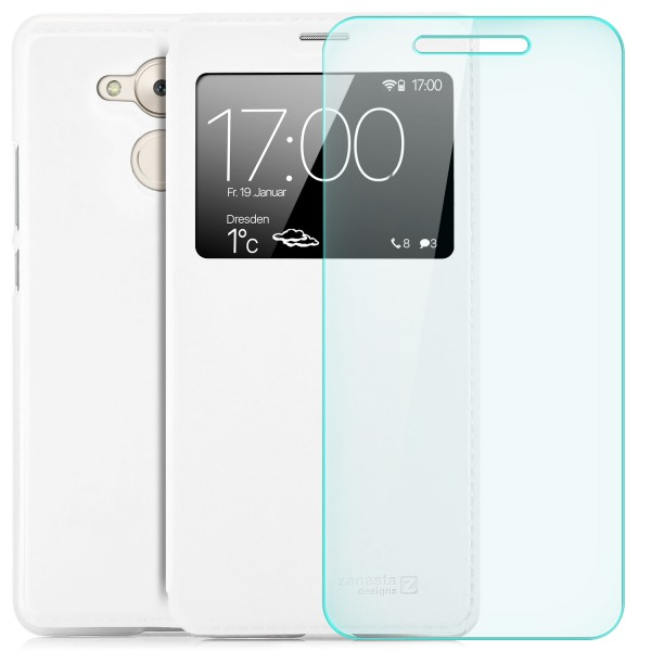 Kunstleder View Case für Huawei Honor 6C / Enjoy 6S - Weiß + GLAS
