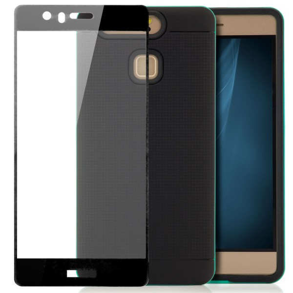 AR-Silikon Back Cover für Huawei P9 - Schwarz-Grün + FC Glas S