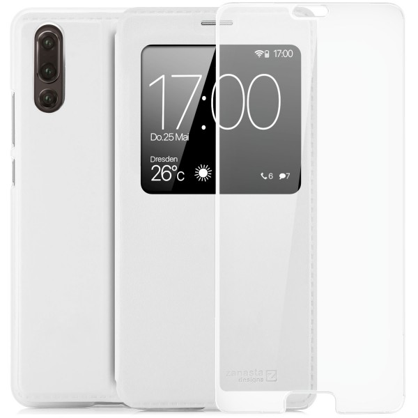 Kunstleder View Case für Huawei P20 - Weiß + FC Glas W