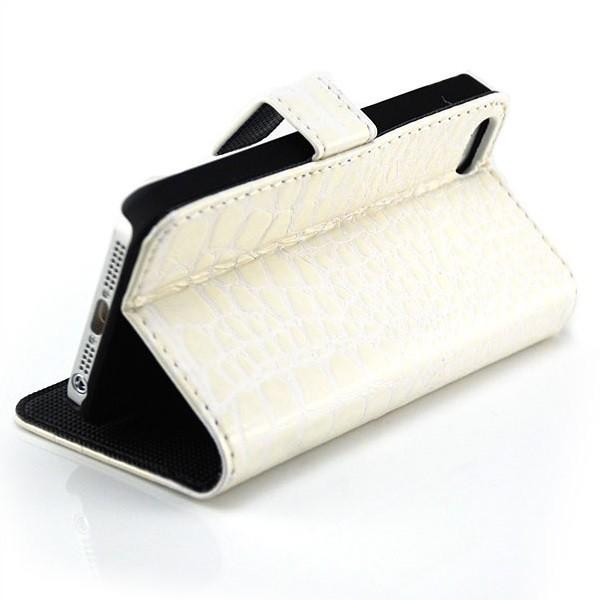 Kroko Handytasche für Apple iPhone 5 & 5S Weiß