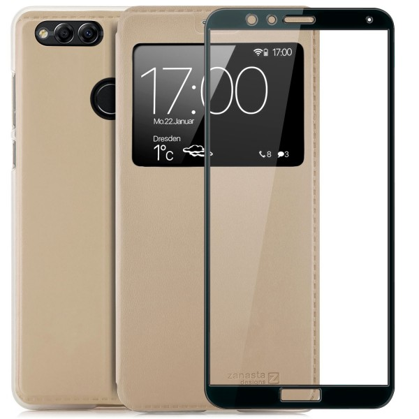 Kunstleder View Case für Huawei Honor 7X - Gold + FC Glas S