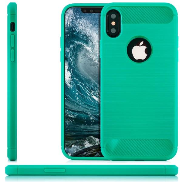 Silikon Brushed Back Cover für Apple iPhone X - Grün