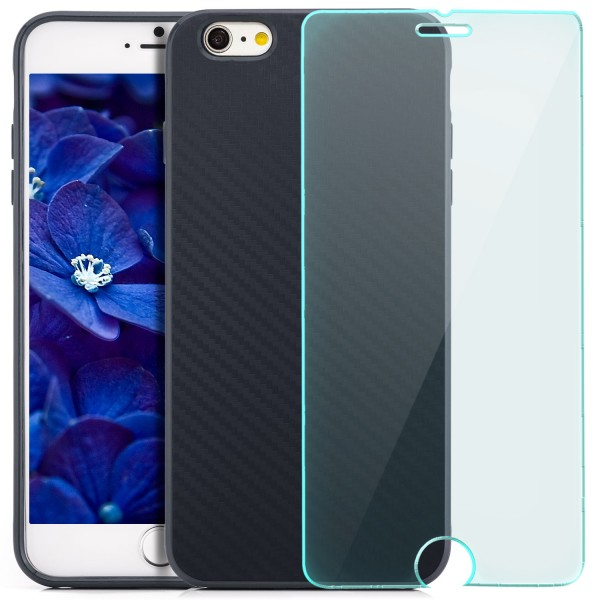 "Silikon Carbon Back Cover für Apple iPhone 6 / 6S Plus (5,5"") - Dunkelblau+GLAS"