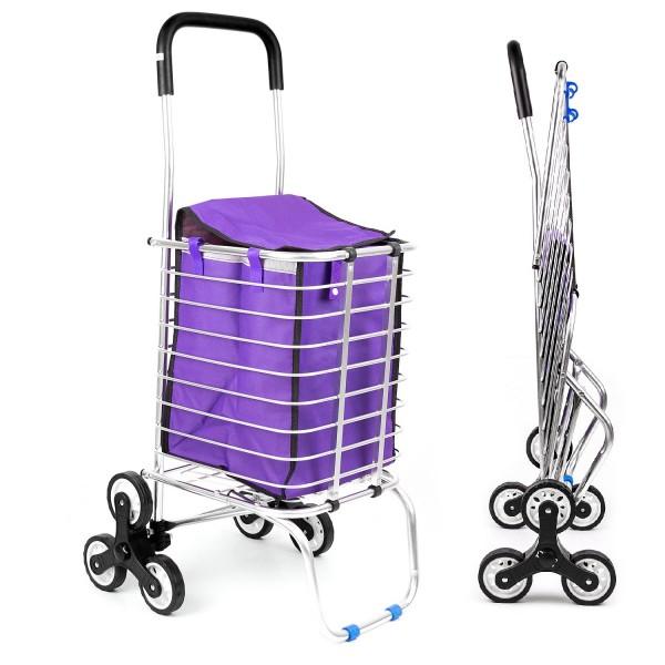 Faltbarer Einkaufstrolley aus Aluminium - Lila