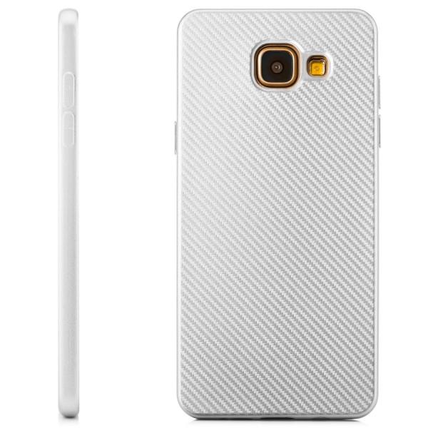Silikon Metallic Carbon Case für Samsung Galaxy A5 (2016) - Silber