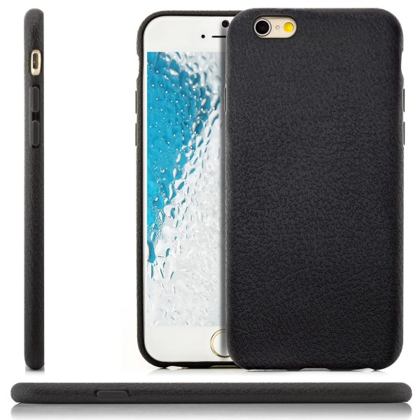 "Silikon Leder Back Cover für Apple iPhone 6 / 6S Plus (5,5"") - Schwarz"