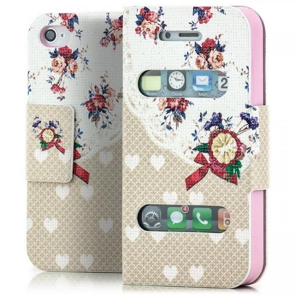 Herz / Blumen Book Wallet für Apple iPhone 4 4S -MF-