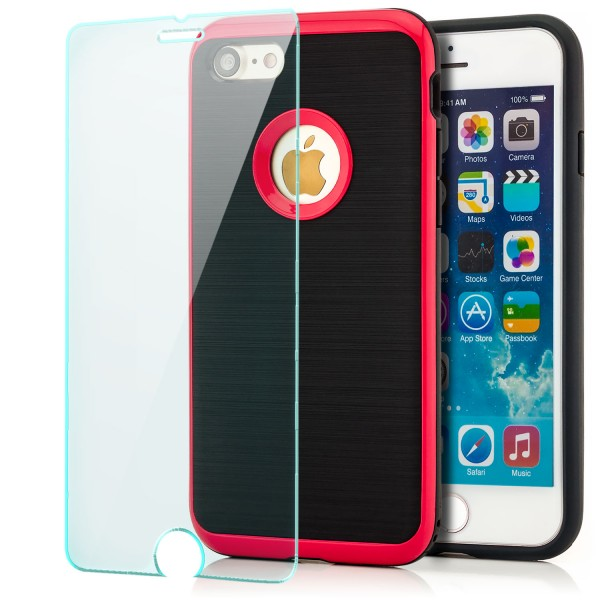 """Brushed TPU Back Cover für Apple iPhone 8 / 7 (4,7"""") - Schwarz-Rot +GLAS"""