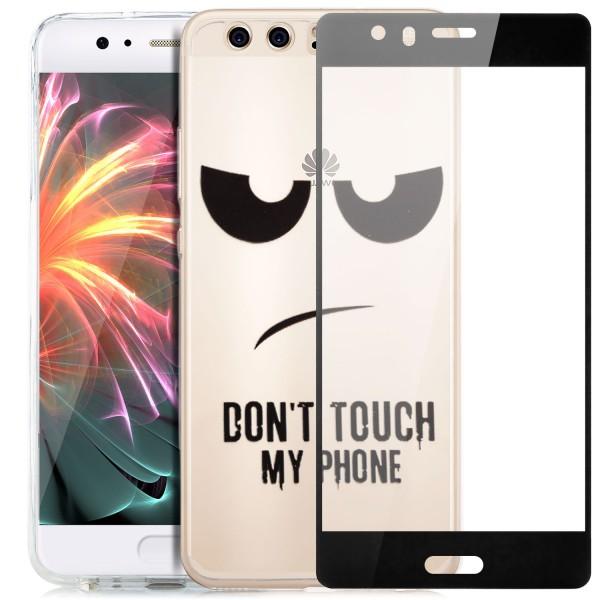 Silikon Motiv Case für Huawei P10 - Dont Touch my Phone 2 + FC Glas S