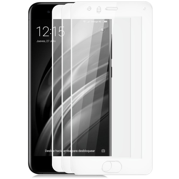 3x Full Cover Displayschutzglas für Xiaomi Mi 6 - Weiß