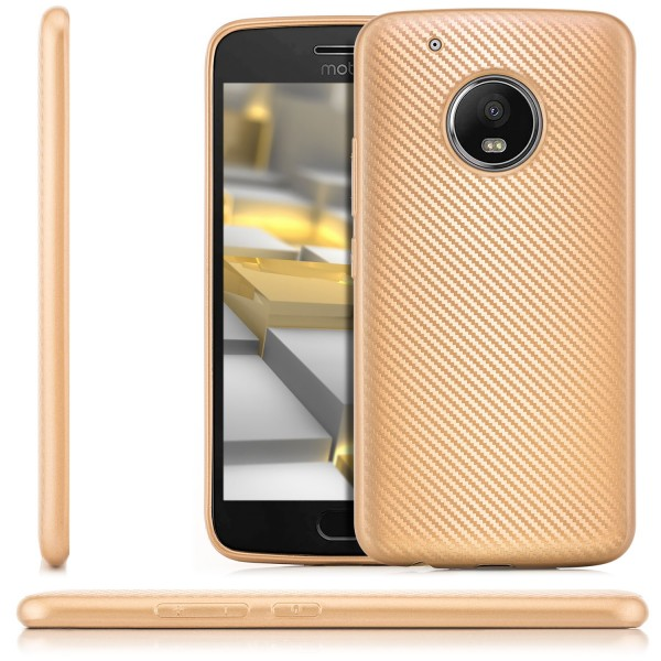 Silikon Metallic Carbon Case für Lenovo Moto G5 Plus - Gold