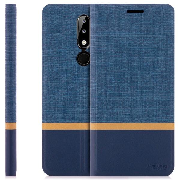 Kunstleder Streifen Tasche für Nokia 5.1 Plus