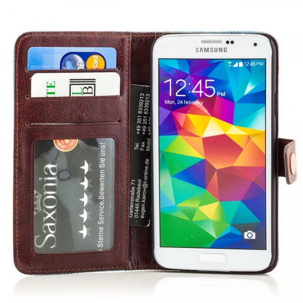 Jeans Style Tasche für Samsung Galaxy S5 Hellblau