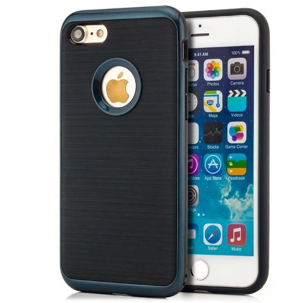 """Brushed TPU Handyschale für Apple iPhone 8 Plus / 7 Plus (5,5"""") - Schwarz-Dunkelblau"""