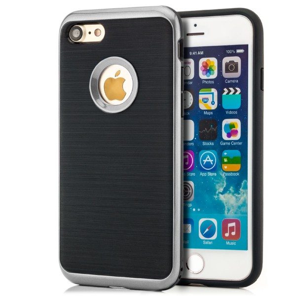 """Brushed TPU Case für Apple iPhone 8 Plus / 7 Plus (5,5"""") - Schwarz-Silber"""
