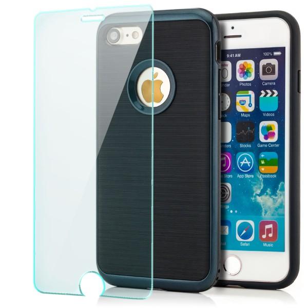 "Brushed TPU Back Cover für Apple iPhone 8 / 7 (4,7"") - Schwarz-Dunkelblau +GLAS"