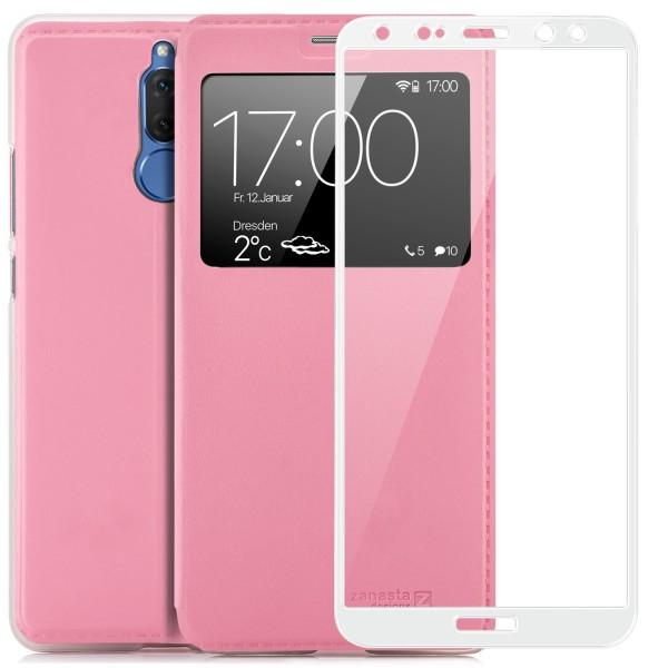 Kunstleder View Case für Huawei Mate 10 Lite - Rosa + FC Glas W
