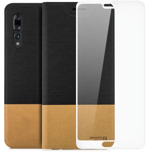 Kunstleder Slim Tasche für Huawei P20 Pro - Schwarz + FC Glas W