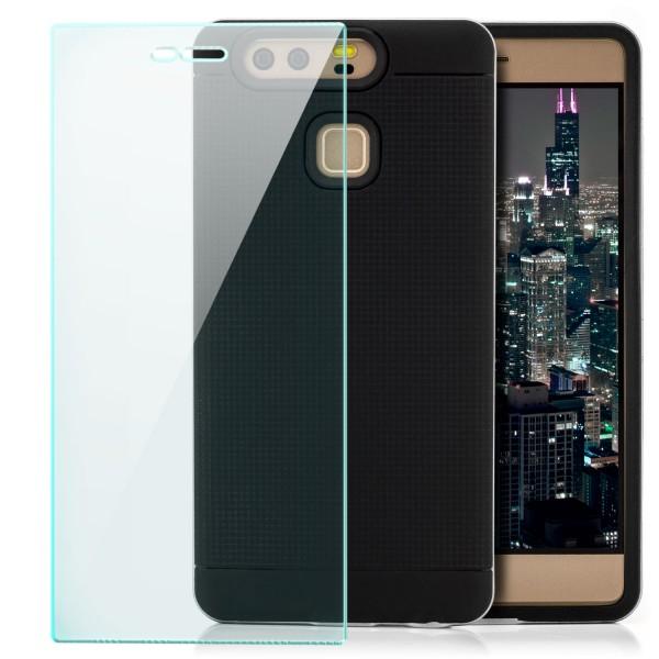 AR-Silikon Back Cover für Huawei P9 - Schwarz-Silber + GLAS