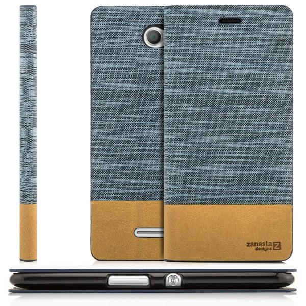 Kunstleder Klapptasche für Sony Xperia E4 - Blaugrau