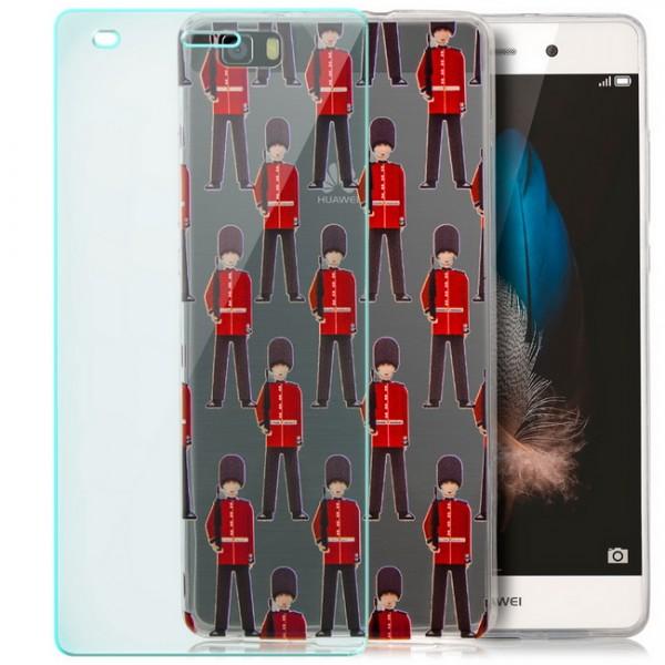 Silikon Motiv Case für Huawei P8 Lite (2015) - Toy Soldiers + GLAS