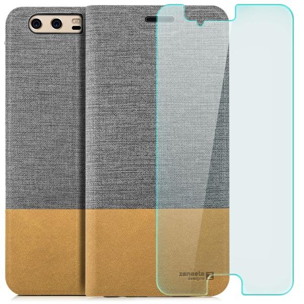 Kunstleder Slim Tasche für Huawei P10 Plus - Grau + GLAS