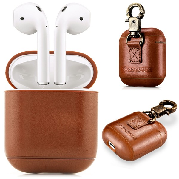 Zanasta Echtleder Case für Apple AirPods - Braun mit Haken