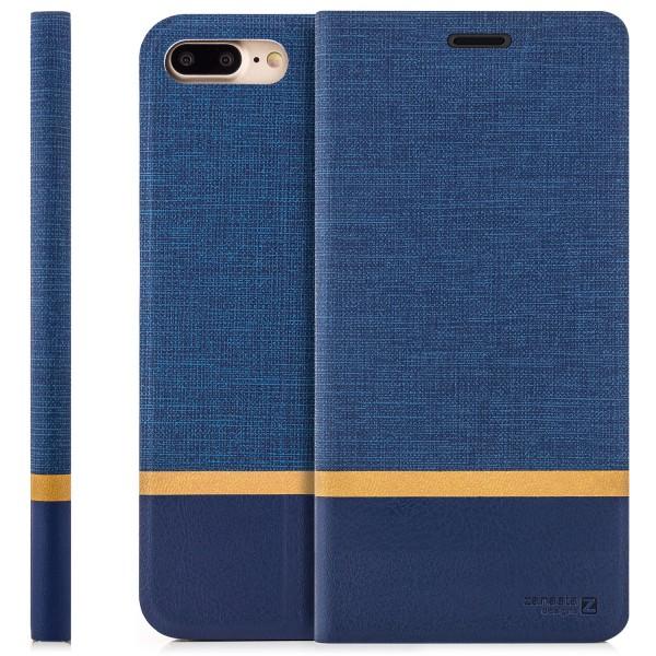 """Kunstleder Streifen Tasche für Apple iPhone 8 Plus / 7 Plus (5,5"""") - Blau"""