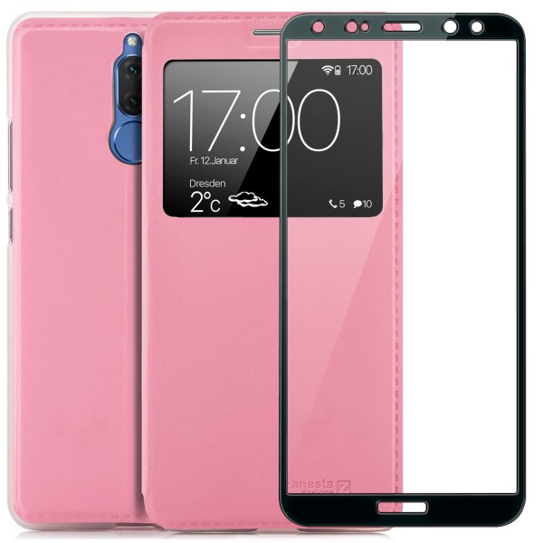 Kunstleder View Case für Huawei Mate 10 Lite - Rosa + FC Glas S