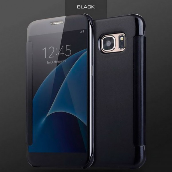 Transparent Flip Case für Samsung Galaxy S7 Edge - Schwarz